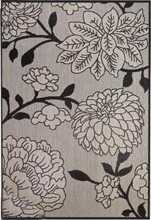 Tapete Sisllê Floral Iv Retangular Polipropileno (50X80) Cinza E Preto