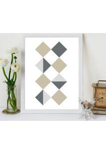 Quadro Decorativo Com Moldura Quadrados Geomã©Tricos Branco - 20X30Cm - Multicolorido - Dafiti