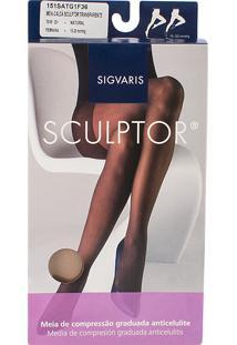 Meia Calça Anticelulite Sigvaris Sculptor 15-20Mmhg G (Tamanho Grande) Curto (G1) Cor Natural Ponteira Fechada