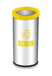 Lixeira Seletiva Com Aro E Adesivo Amarelo 40,5 Litros - Decorline Lixeiras Ø 30 X 60 Cm - Brinox