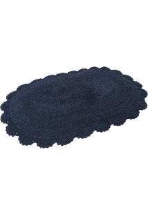 Tapete Kacyumara Crochê Oval 40X60Cm Azul