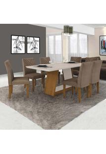 Conjunto De Mesa De Jantar Com 6 Cadeiras Gênova Veludo Imbuia E Off White