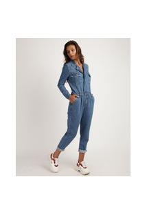 Macacão Jeans Feminino Com Bolsos Manga Longa Azul Médio