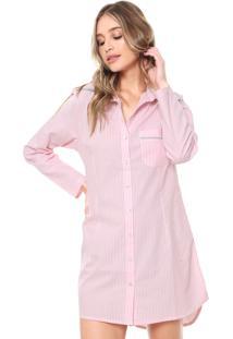 Camisola Chemise La Rudge Curta Malibu Rosa/Branca