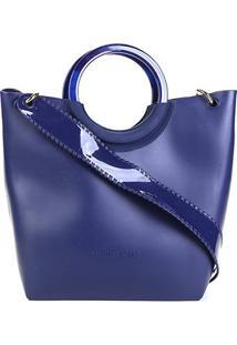 Bolsa Petite Jolie Tote Alça Verniz Transversal City Bag Feminina - Feminino-Azul