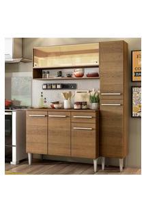 Cozinha Compacta Madesa Emilly Art Com Balcáo E Armário Vidro Reflex Marrom