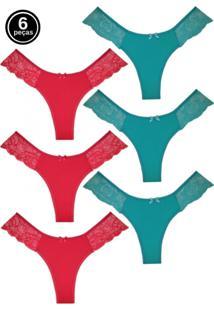 Kit 6 Calcinhas Fio Duplo Tivesty Multicor - Vermelho - Feminino - Poliamida - Dafiti