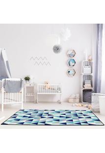 Tapete Mosaico Triangulos Azul Casa Dona Antiderrapante 140 X 200 Cm - Azul - Dafiti