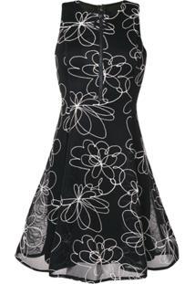 7227af59aa ... Dkny Flower Detail Flare Dress - Preto