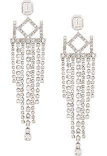Karl Lagerfeld K/Crystal Chandelier Earrings - Prateado