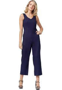 Macacão Mx Fashion Pantacourt Listrado Kim Azul