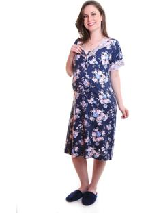 Camisola Gestante & Cia Floral Laura Azul Marinho
