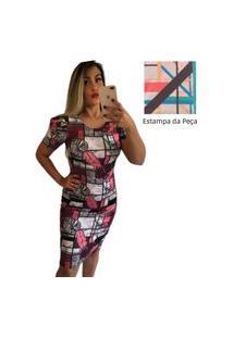 Vestido Feminino Tubinho Médio Moda Evangélica Bege