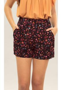 Shorts Cintura Alta Estampa Tecido Wild Flower - Lez A Lez