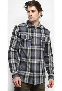 Camisa Gajang Xadrez Nash Roots Masculina - Masculino-Chumbo