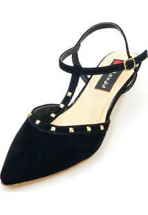 Scarpin Slingback Salto Baixo Love Shoes Valentino Spike Preto