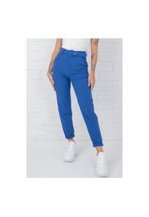 Calça Pkd De Tecido Com Cinto Azul Bic