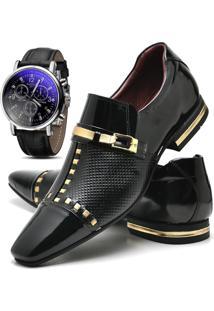 c817028109 Dafiti. Relógio Masculino Vidro Verniz Couro Sintético Kit Preto Dourado  Fivela Casual Social Gofer Sapato ...