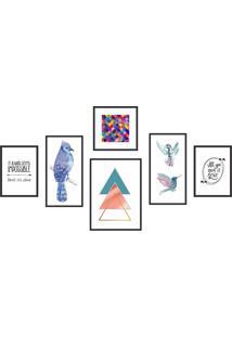 Conjunto De 6 Quadros Nature - Kapos - Colorido