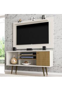 Rack Com Painel Para Tv Até 50 Polegadas Safira Off-White/Cinamomo - Móveis Bechara