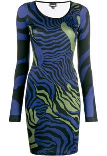 Just Cavalli Vestido Animal Print - Azul