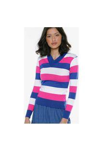 Blusa De Tricot Listrada Justa Gola V Under79 Pink, Azul E Branca