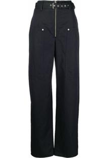 Isabel Marant Étoile Calça Pantalona Cintura Alta - Azul