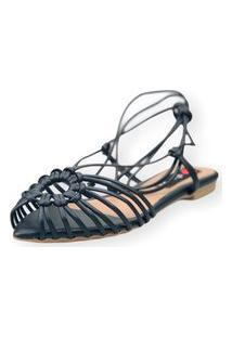 Sandalia Love Shoes Rasteira Bico Folha Amarração Tirinhas Preto