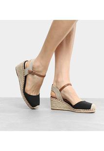 Espadrille Shoestock Anabela Lona Feminina - Feminino-Preto