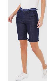 Bermuda Jeans Morena Rosa Reta Azul - Azul - Feminino - Algodã£O - Dafiti