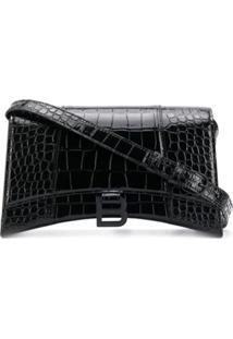 Balenciaga Bolsa Tiracolo Hourglass Com Efeito De Pele De Crocodilo - Preto