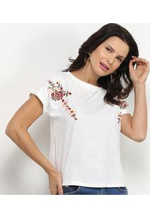 Camiseta Pérola Bordada Flor Feminina - Feminino-Branco