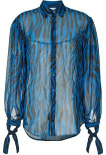 Robert Rodriguez Studio Blusa Translúcida Estampada - Azul