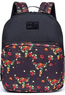 Mochila Cavalera Flower Dots Preto/Vermelho