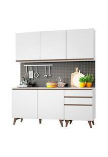 Armário De Cozinha Compacta Madesa Reims Com Balcão 5 Portas 3 Gavetas Branco Branco