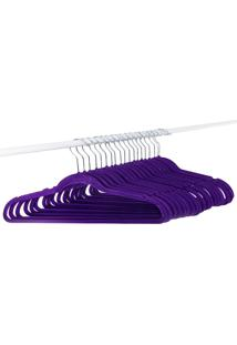 Kit Com 20 Cabides Canvas Roxo