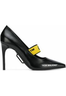 Off-White Scarpin 'For Walking' De Couro - Preto
