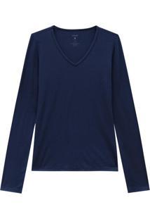 Blusa Azul Marinho Decote V Em Viscose