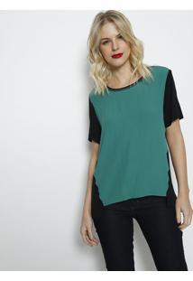 Blusa Bicolor Com Recortes- Verde & Preta- Forumforum