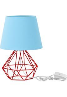 Abajur Diamante Dome Azul Bebe Com Aramado Vermelho - Azul - Dafiti