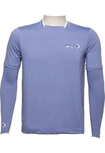 Camiseta Ml Dryfit Gola Filete Fishing Co. Azul Marlin Ufp 50+ Ref. 1027
