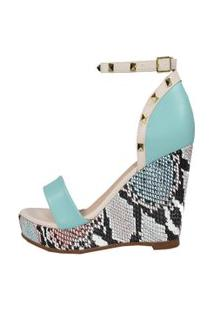Sandália Anabela Salto Médio Week Shoes Animal Print Azul Claro