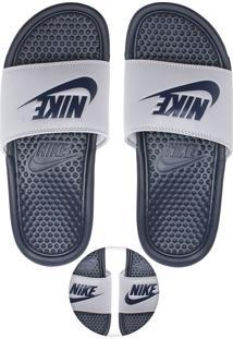 Chinelo Slide Nike Sportswear Benassi Jdi Branco/Azul