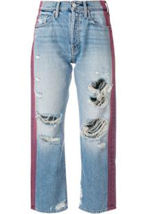 Mother Contrast Stripe Distressed Jeans - Azul