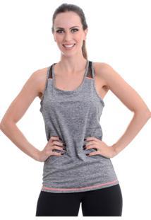 Camiseta Fitness Areia Branca Regata Cinza