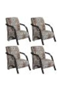 Conjunto De 4 Poltronas Sevilha Decorativa Braço De Madeira Cadeira Para Recepção, Sala Estar Tv Espera, Escritório, Vários Ambientes - Poliéster Estampado Indiano 060
