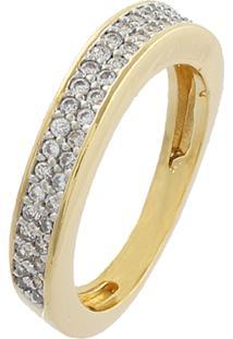 Anel Narcizza Semijoias Aparador Curvado Cravejado Com Micro Zircônia Cristal Ouro
