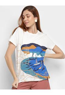 Camiseta Cantão Estampada Feminina - Feminino-Off White