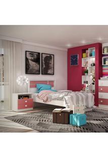 Cama De Solteiro 8008 Siena Móveis Branco/Rosa