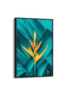 Quadro 90X60Cm Folhagem Tropical Folhas E Flores Canvas Moldura Flutuante Preta
